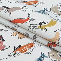 Декоративная ткань лонета собачки мультиколор
