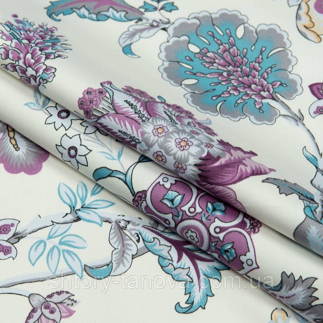 Декоративная ткань сатен ананда/ananda цветы фиолет