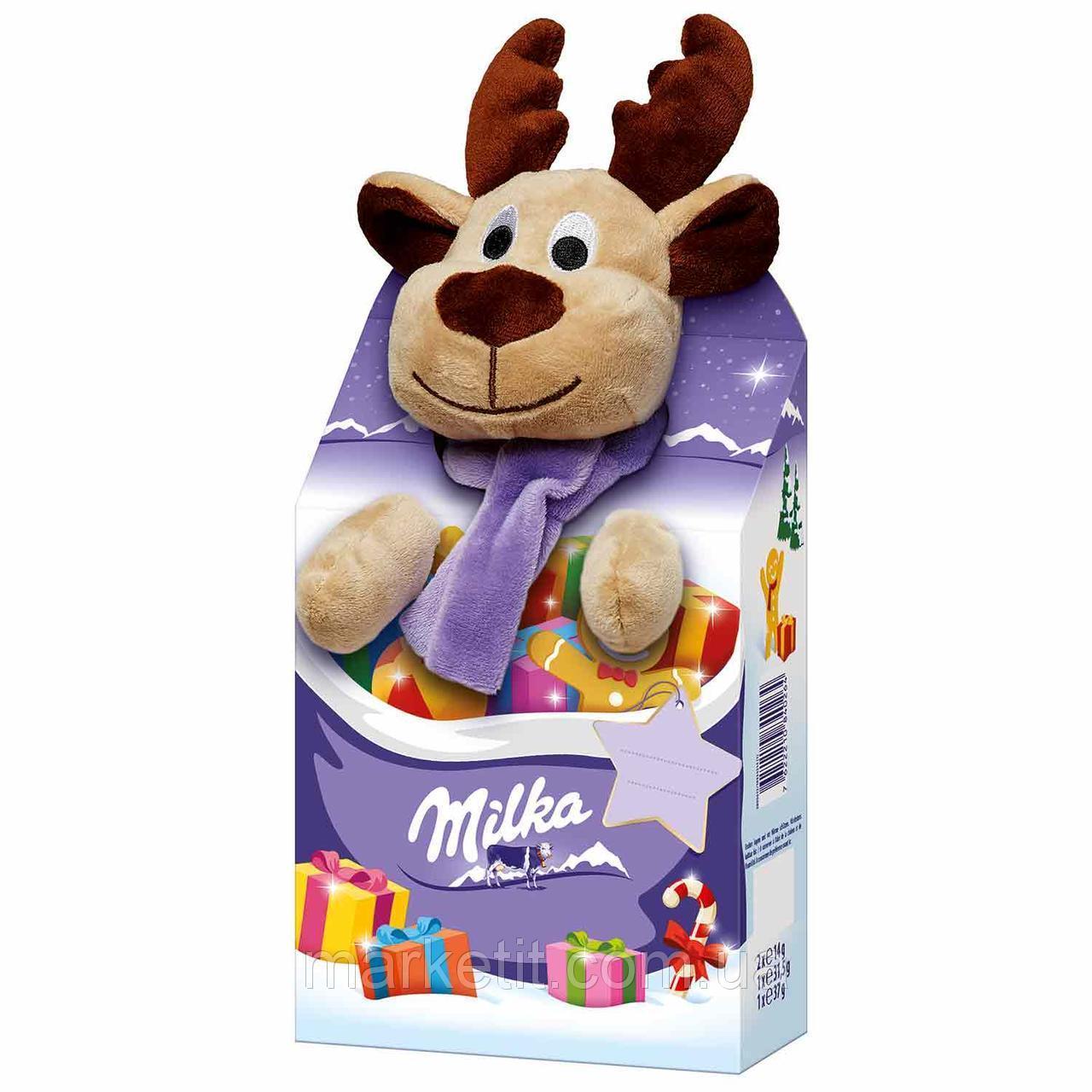 Новогодний Набор сладостей Milka c мягкой игрушкой Олень, фото 1