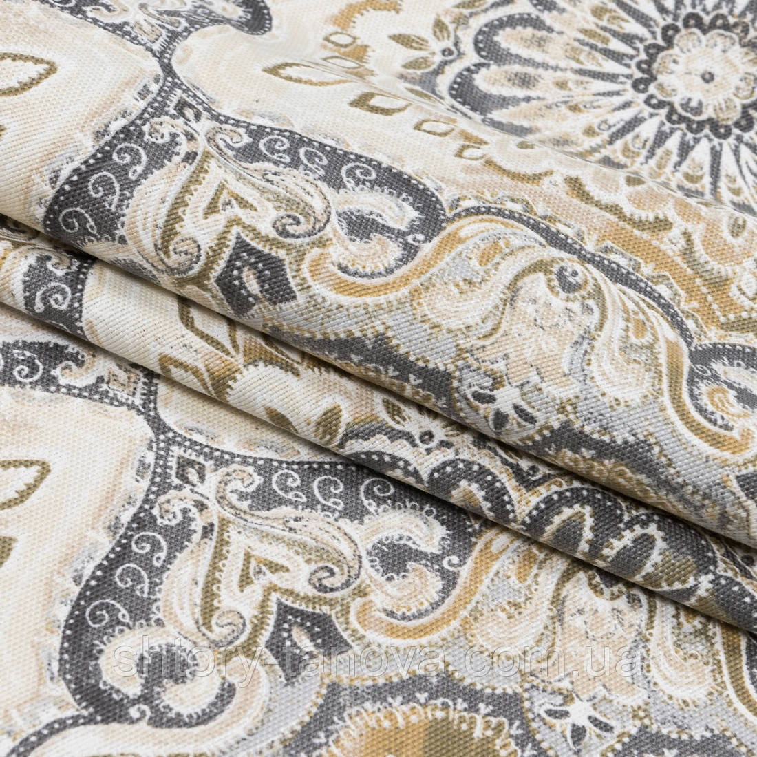 Декоративная ткань панама клейд/ clady серый,оливка