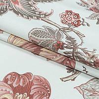 Декоративная ткань панама лейса/ laisa цветы терракот,серый