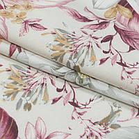 Декоративная ткань панама ней/ nei цветы лилово-сизый,серый