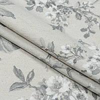 Декоративная ткань панама рокси/roxу цветы серый