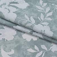 Декоративная ткань панама флинт/ flint /цветы молочный,фон серый