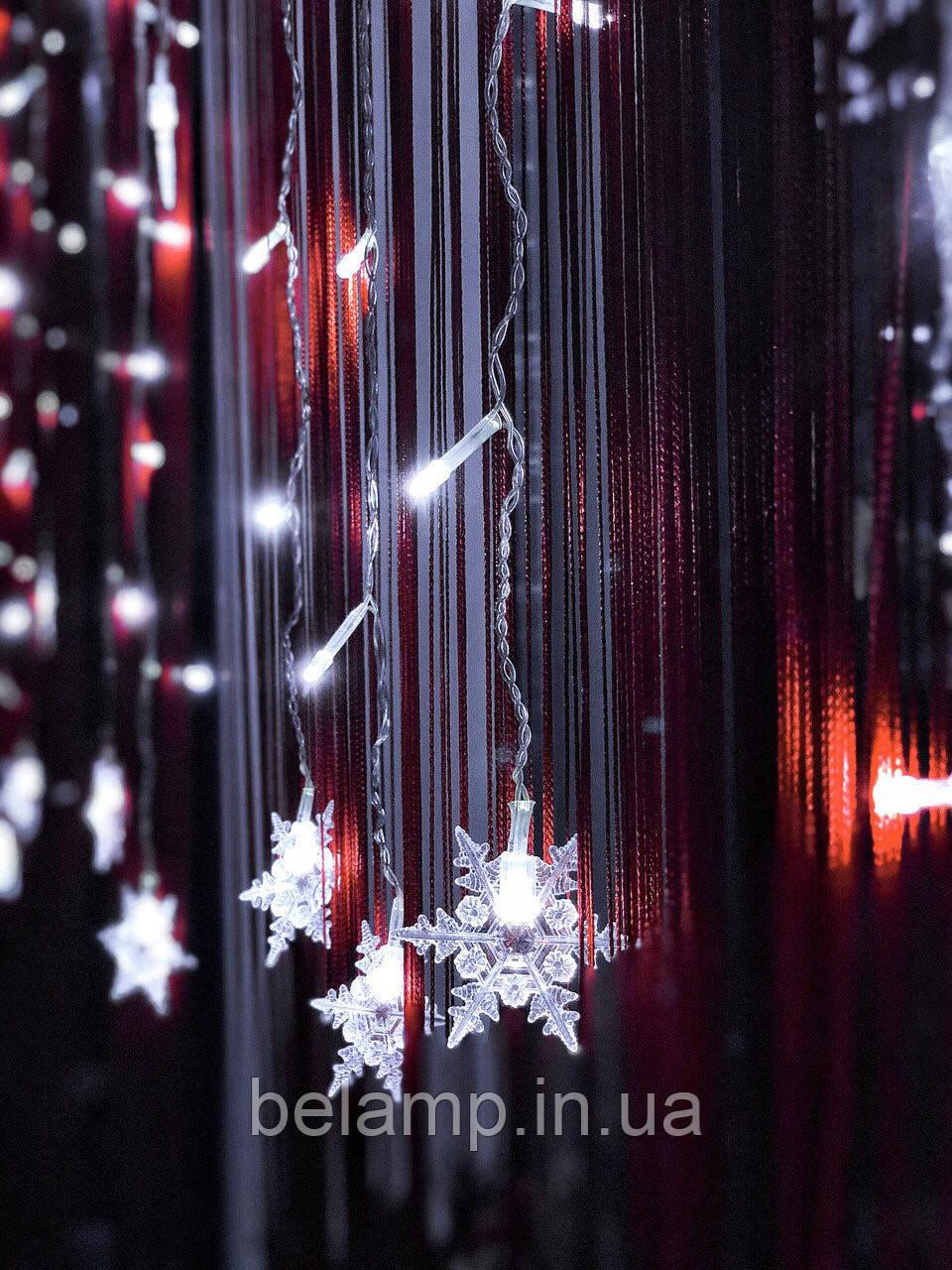 """Новогодняя гирлянда Штора-бахрома из снежинок «Волшебные снежинки"""", фото 1"""
