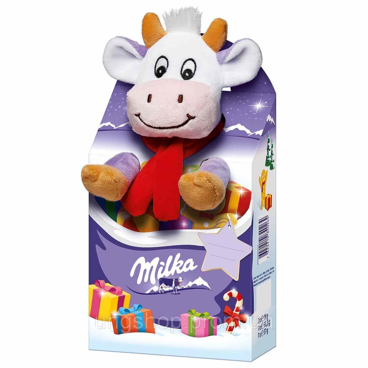 Новогодний Набор сладостей Milka c мягкой игрушкой Коровка, фото 1
