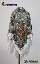 Павлопосадский белый платок Сказочный вечер, фото 3