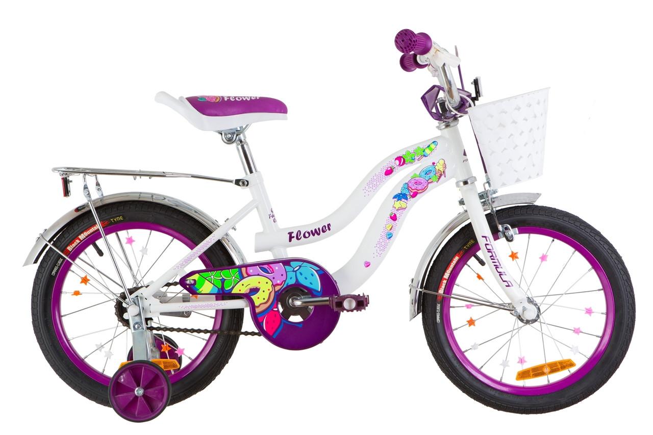 Акция Детский велосипед с корзинкой Flower 16 дюймов Formula для девочки