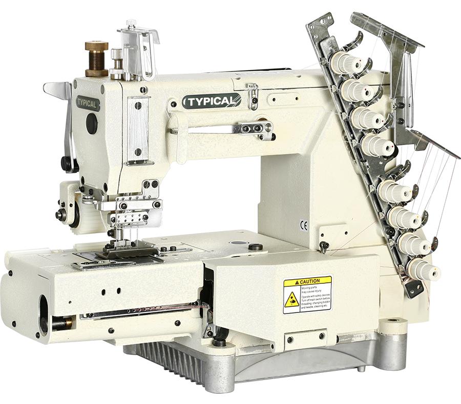 Typical GK321-8, восьмиигольная швейная машина цепного стежка с пуллером, для пришивания эластичных поясов