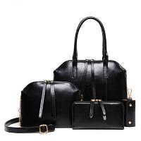 Женска сумка классика в наборе 4в1 черного цвета опт, фото 1