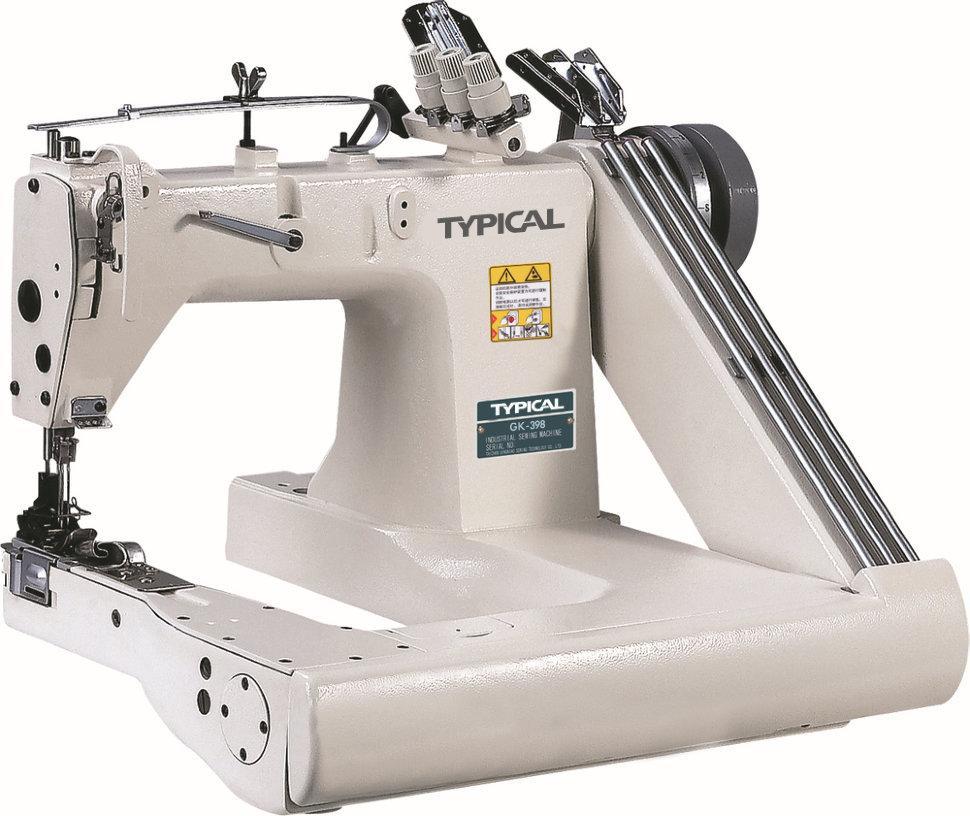 Typical GK398, трехигольная швейная машина цепного стежка на П-образной платформе с задним пуллером