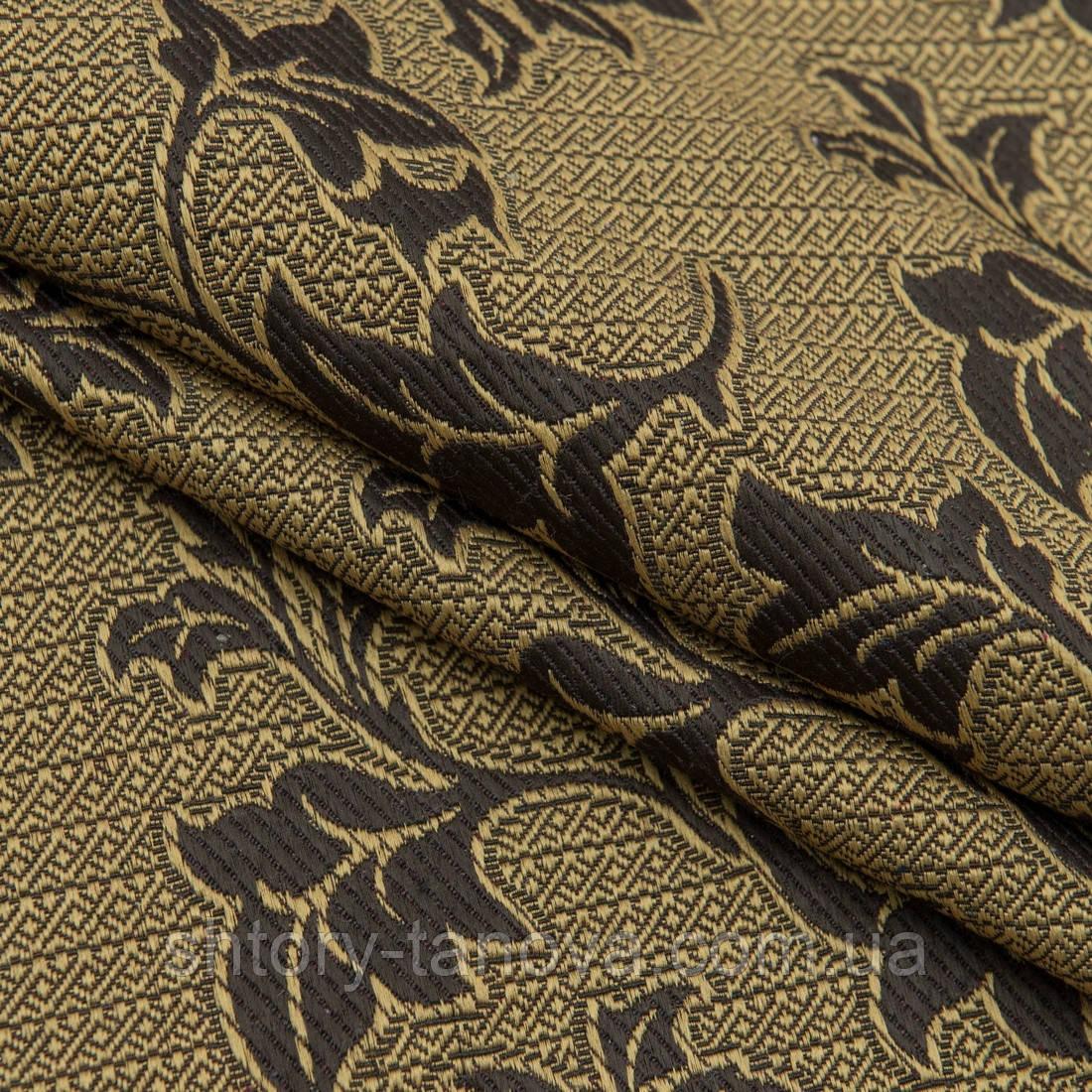 Декор-гобелен листья плюща старое золото,коричневый