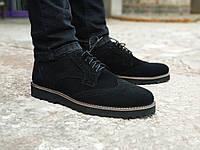 Туфли мужские замшевые броги / черные
