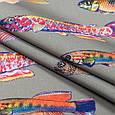 Дралон принт вардо/vardo фон т. беж,кольорові рибки, фото 2