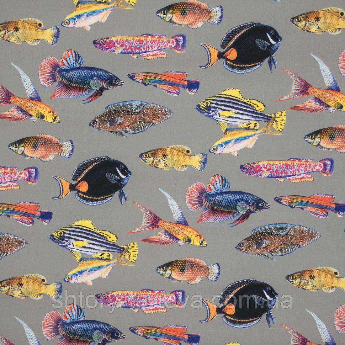 Дралон принт вардо/vardo фон т. беж,кольорові рибки