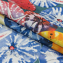 Ткань с тефлоновым покрытием Дралон принт гета/geta фон серо-голубой мультиколор, гамак-ткань