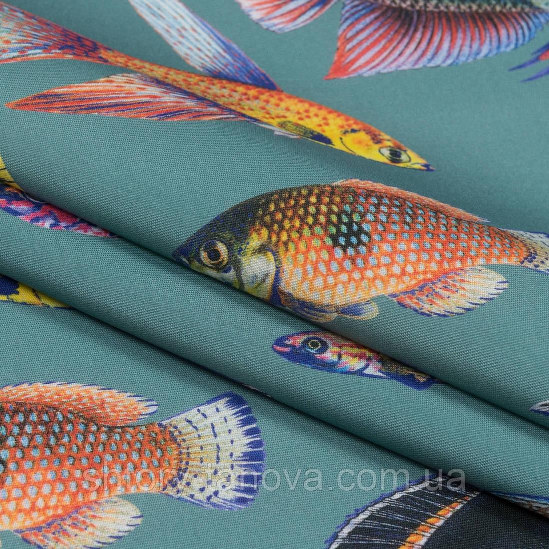 Водоотталкивающая ткань для штор в ванную, бассейн Дралон с принтом вардо/vardo  рыбки цветные