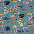 Дралон принт вардо/vardo фон сіро-блакитний,кольорові рибки, фото 2