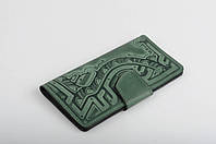 Кожаный зеленый кошелек ручной работы, качественный клатч-кошелек, фото 1