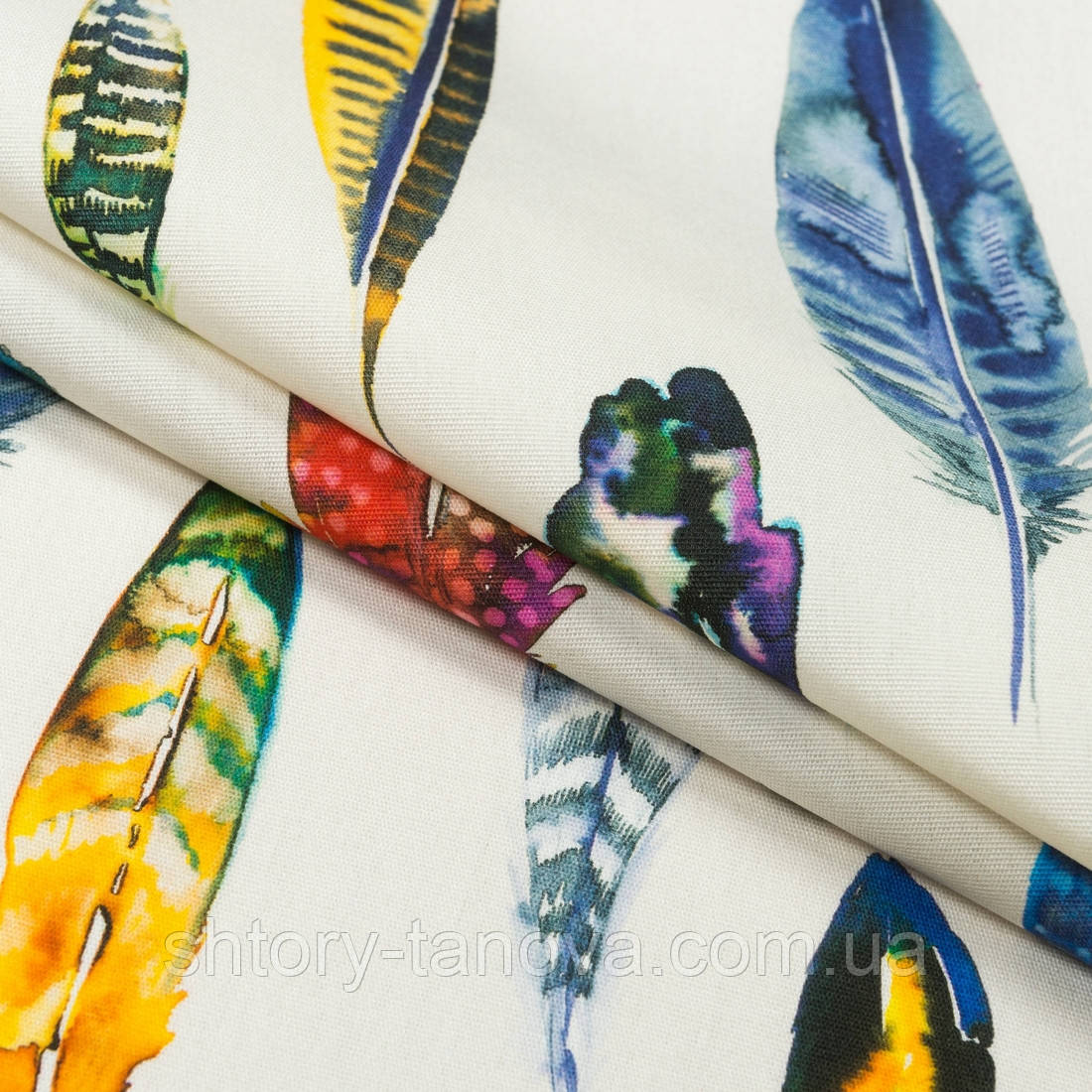 Ткань для бескаркасных кресел Дралон принт синд/sund белый с принтом перья цветные
