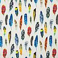 Ткань для бескаркасных кресел Дралон принт синд/sund белый с принтом перья цветные, фото 2