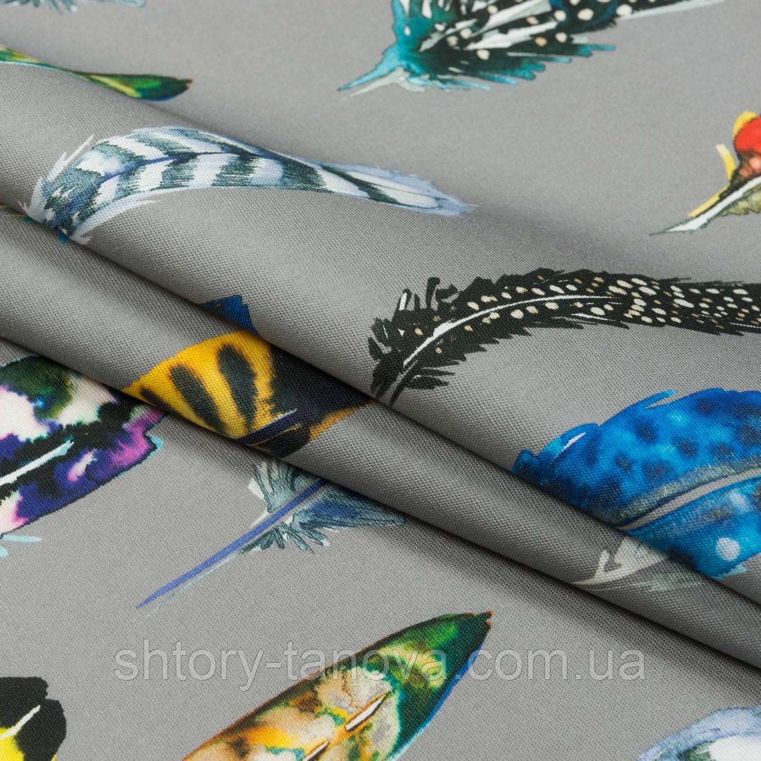 Дралон принт сінд/sund фон т. беж,кольорові пір'я
