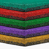 Резиновая плитка 500х500х30 ярко-красная, фото 1