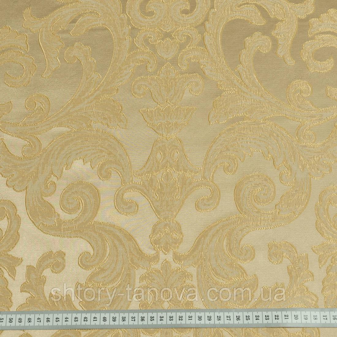 Портьерная ткань ревью фон беж-золото