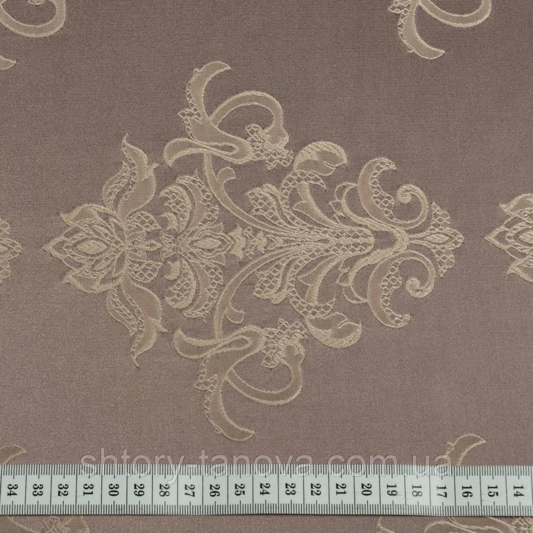 Портьерная ткань плотный вензель какао
