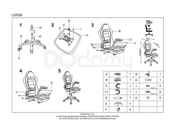 Кресло офисное Lotus Halmar черно-красное, фото 2