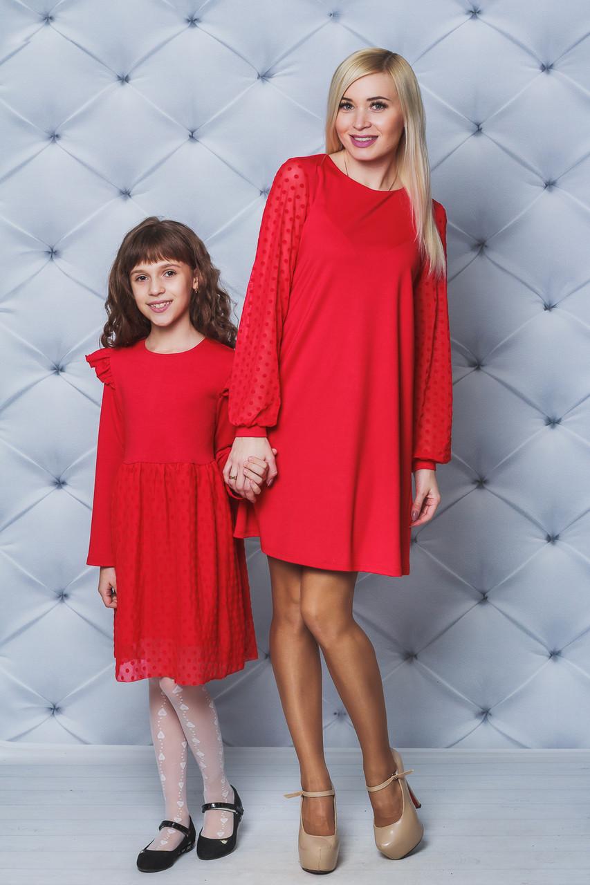 Платье для девочки с сеткой красное