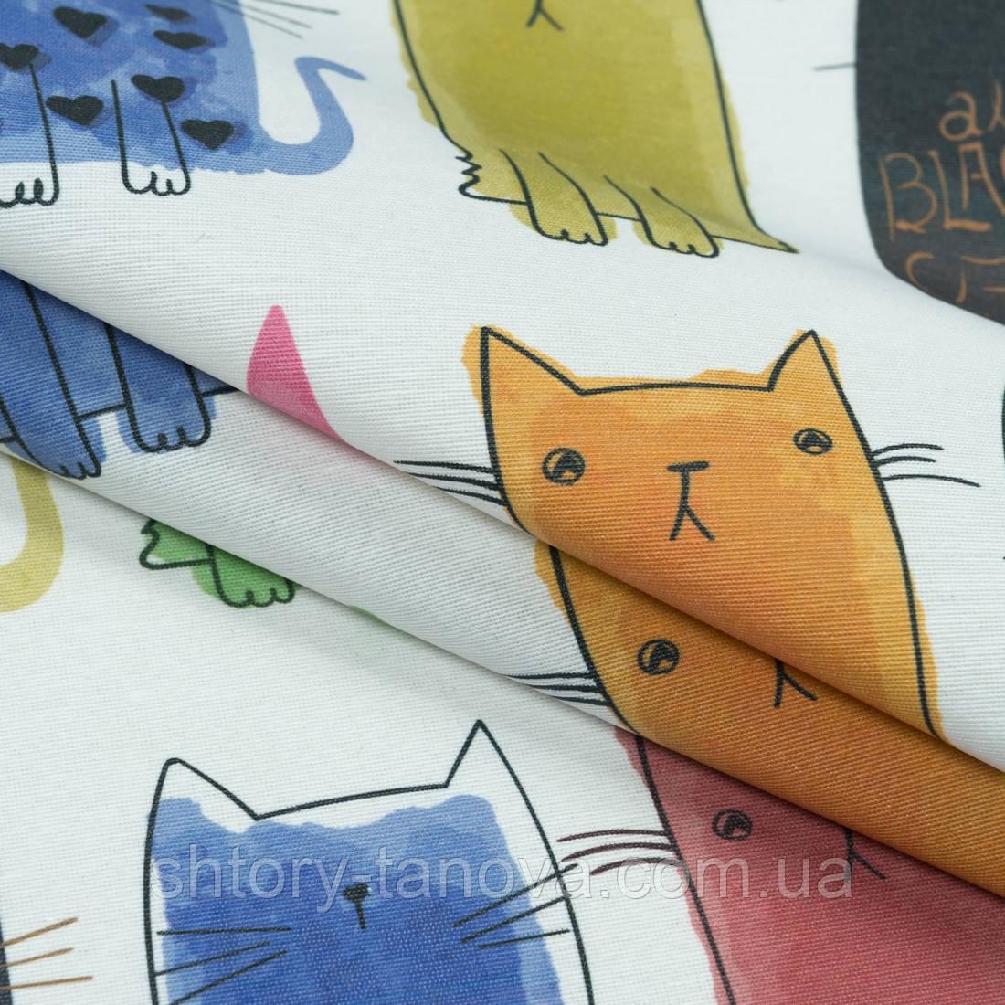 Ткань с акриловой пропиткой цветные котики