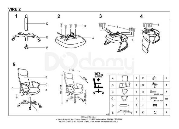 Кресло офисное Vire 2 Halmar зеленый, фото 2