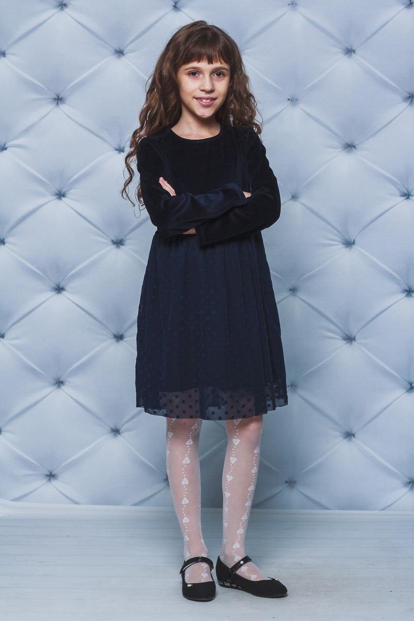 Нарядное платье для девочки темно-синее