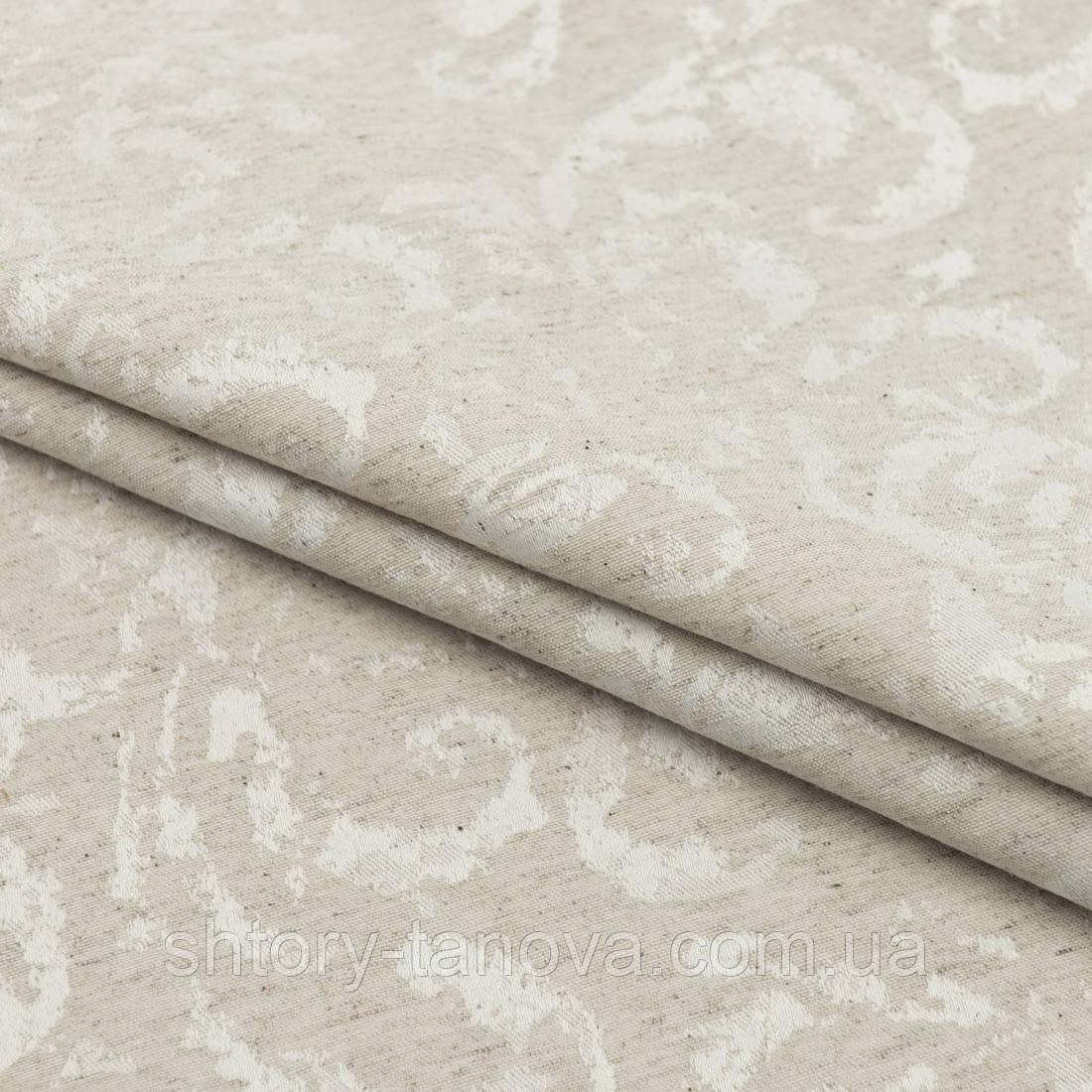 Скатертная тканина жаккард юно колір льону