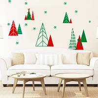 Виниловая интерьерная наклейка Зимний лес (новогодний стикер, декор для стен, окон, большая композиция)
