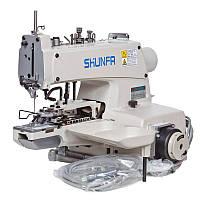 Shunfa SF 373-TY, электромеханическая пуговичная машина цепного стежка, для плоских пуговиц, с 2, 4 отверстиями