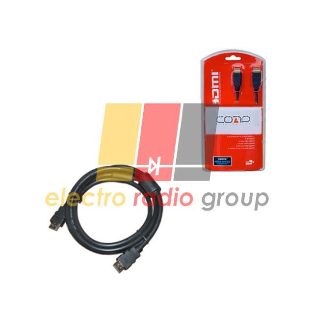 Шнур HDMI (шт.- шт.) диам.-7,3мм с фильтр., в блистере, 2м, чёрный