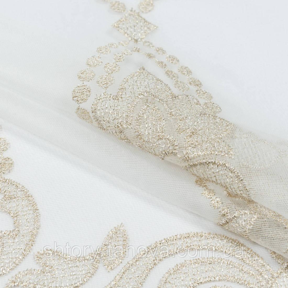 Тюль микро сетка вышивка агильеро молочный-золото (купон)
