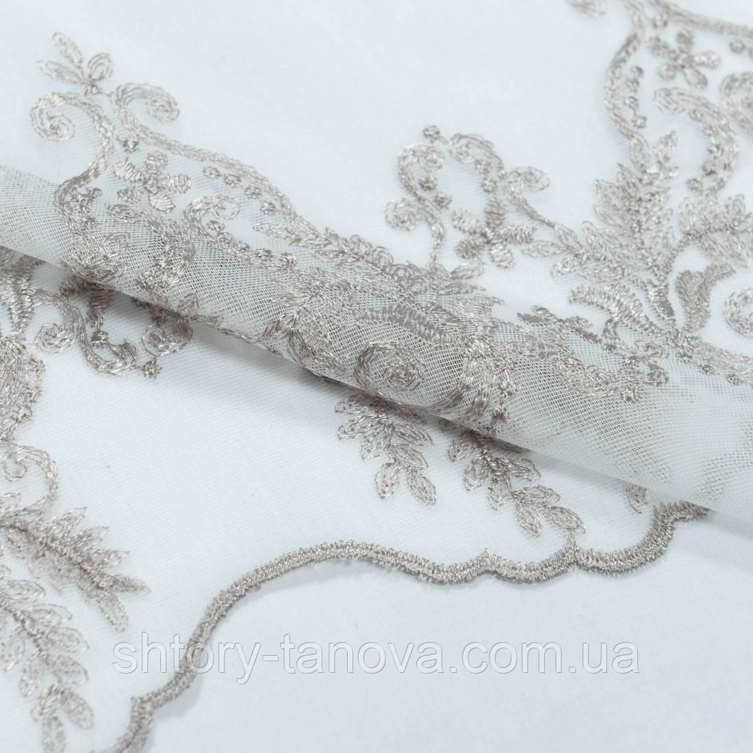 Тюль микро сетка вышивка//вензель песок (купон)