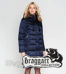 Пуховик длинный удлиненный теплый  женский Braggart Angel's Woman |  Воздуховик зимний  темно-синий