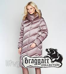 Пальто пуховик женское Braggart Angel's Woman | Воздуховик женский зимний 30952 пудра