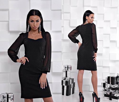 12a5816ac42 Вечернее платье с фигурным вырезом декольте и рукавом из сетки 42-46 ...