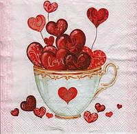 "№ 4 Салфетка для декупажа или сервировки стола ""Валентинка. Сердечки в чашке."""