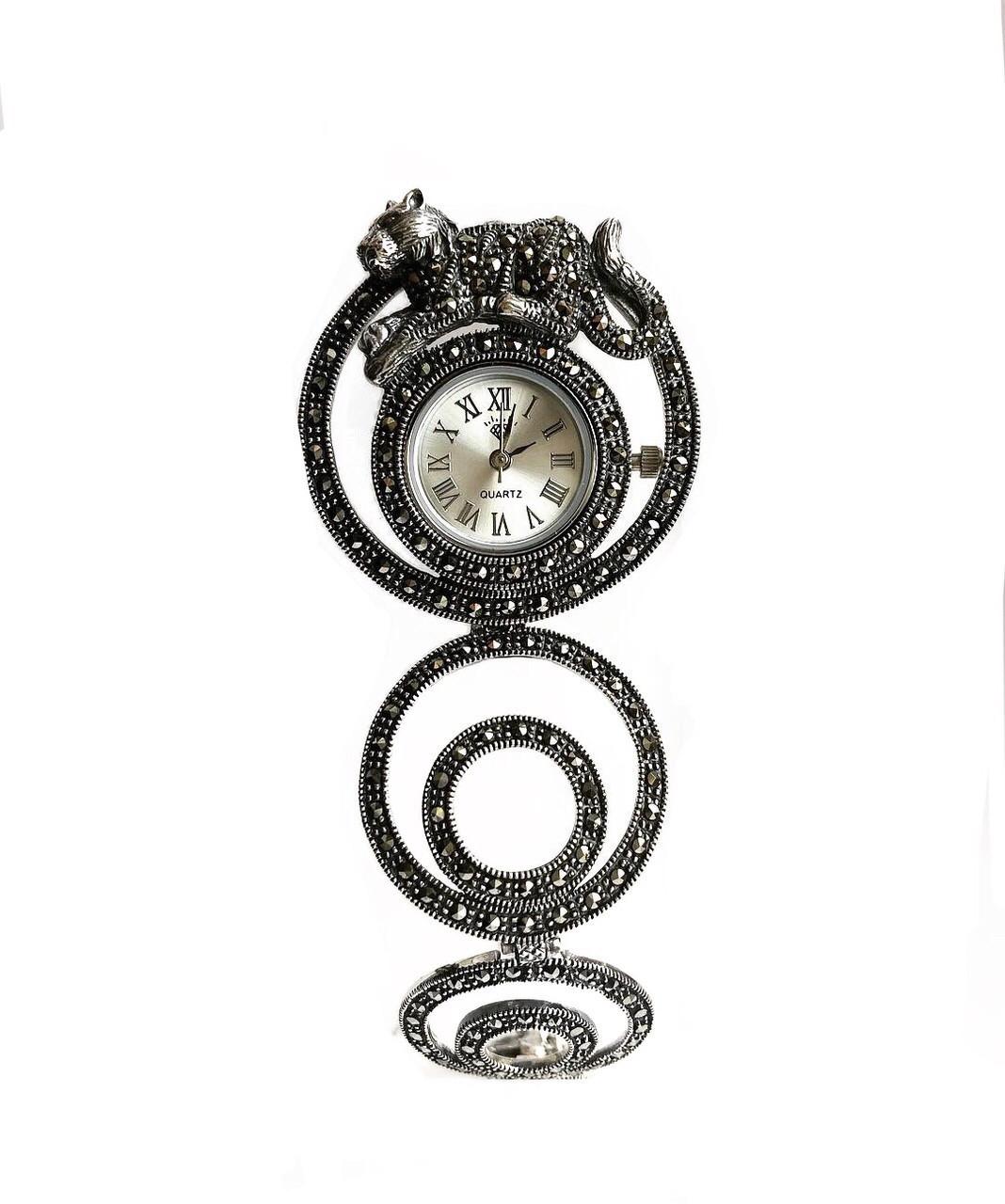 Часы из капельного серебра 925 Beauty Bar с тигром и марказитами