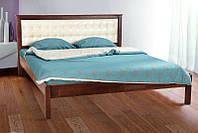 Кровать двуспальнаядеревянная с мягкой спинкой Карина180х200, цвет темный орех + бежевый