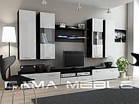 Стенка DREAM II CAMA Черный матовый / Белый глянец