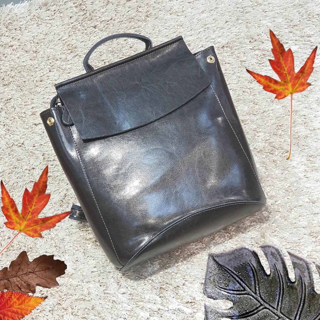 Сірий рюкзак з натуральної шкіри