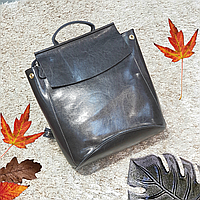 Сірий рюкзак з натуральної шкіри, фото 1