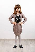 """Платье детское """"Софи"""" сова №4 пудра р. 122-152, фото 1"""